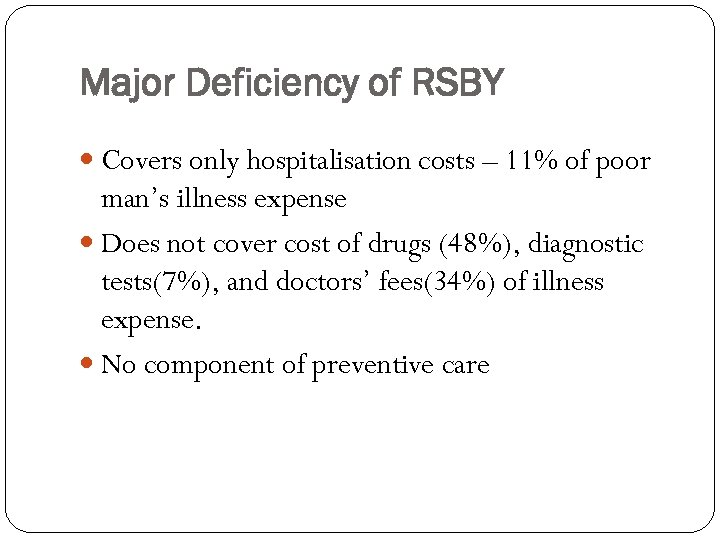 Major Deficiency of RSBY Covers only hospitalisation costs – 11% of poor man's illness