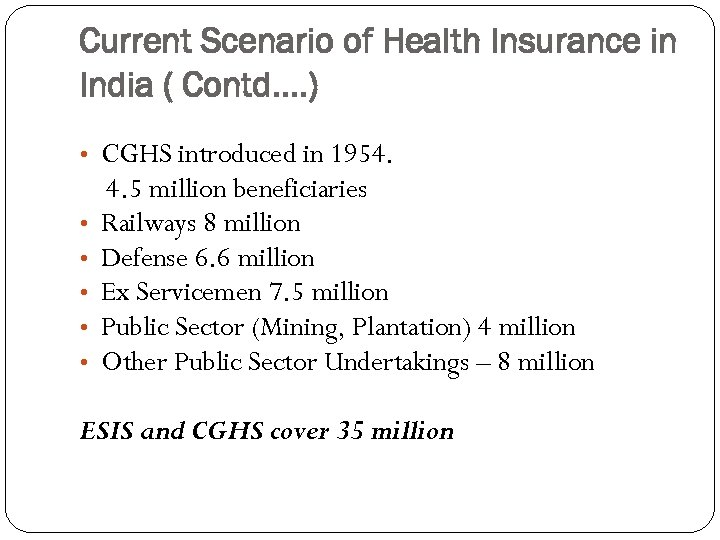 Current Scenario of Health Insurance in India ( Contd…. ) • CGHS introduced in