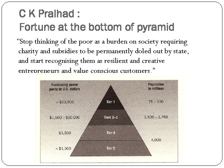"""C K Pralhad : Fortune at the bottom of pyramid """"Stop thinking of the"""