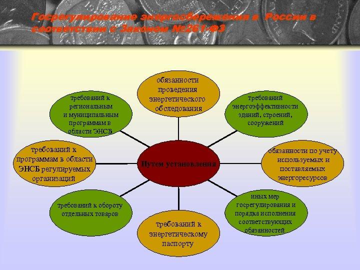 Госрегулирование энергосбережения в России в соответствии с Законом № 261 -ФЗ требований к региональным
