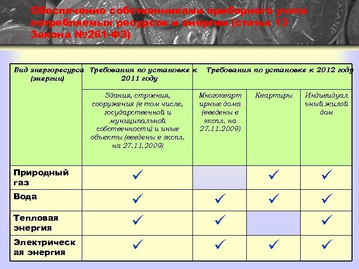 Обеспечение собственниками приборного учета потребляемых ресурсов и энергии (статья 13 Закона № 261 -ФЗ)