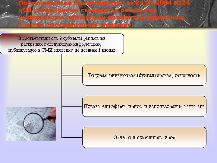 Постановление Правительства от 21. 01. 2004 № 24 «Об утверждении стандартов раскрытия информации субъектами