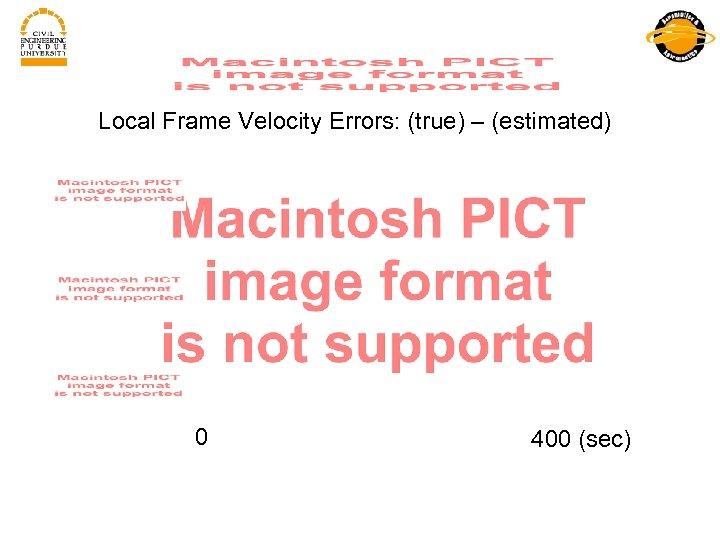 Local Frame Velocity Errors: (true) – (estimated) 0 400 (sec)