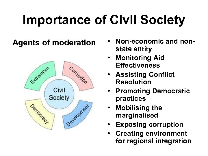 Importance of Civil Society Agents of moderation • Non-economic and nonstate entity • Monitoring