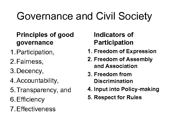 Governance and Civil Society Principles of good governance 1. Participation, 2. Fairness, 3. Decency,