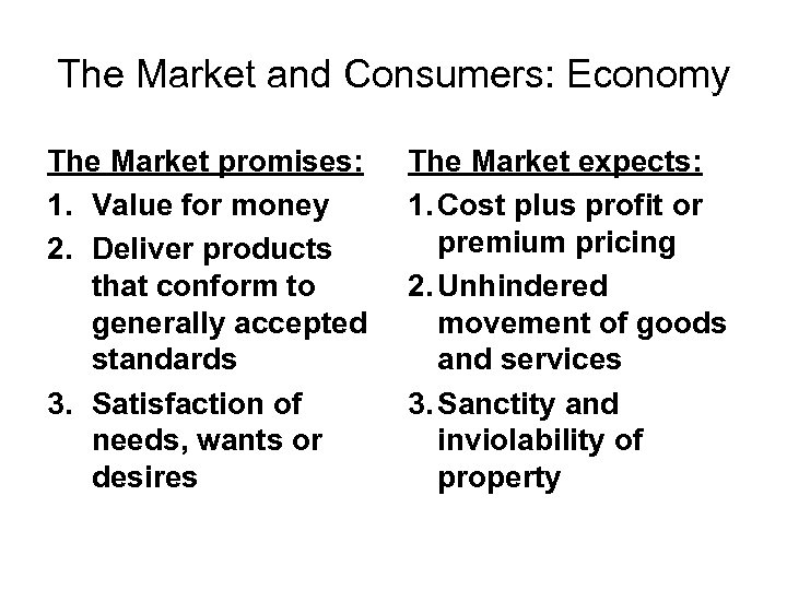 The Market and Consumers: Economy The Market promises: 1. Value for money 2. Deliver