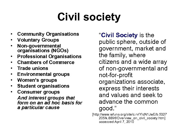 Civil society • Community Organisations • Voluntary Groups • Non-governmental organisations (NGOs) • Professional