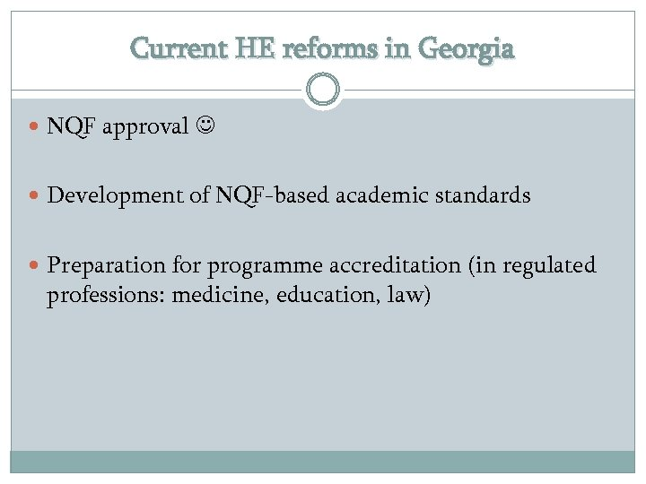 Current HE reforms in Georgia NQF approval Development of NQF-based academic standards Preparation for