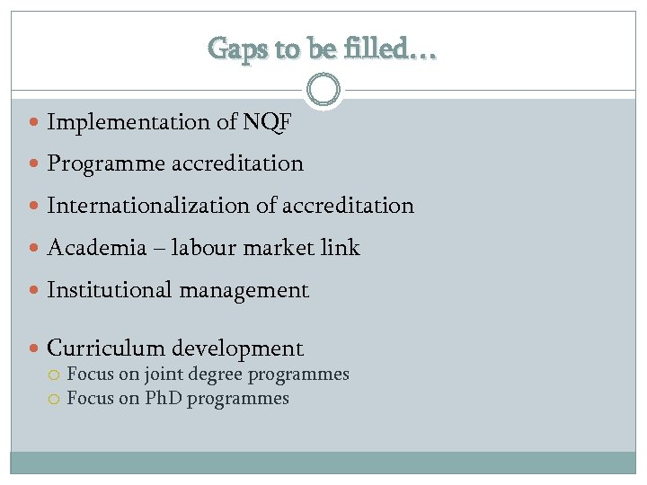 Gaps to be filled… Implementation of NQF Programme accreditation Internationalization of accreditation Academia –