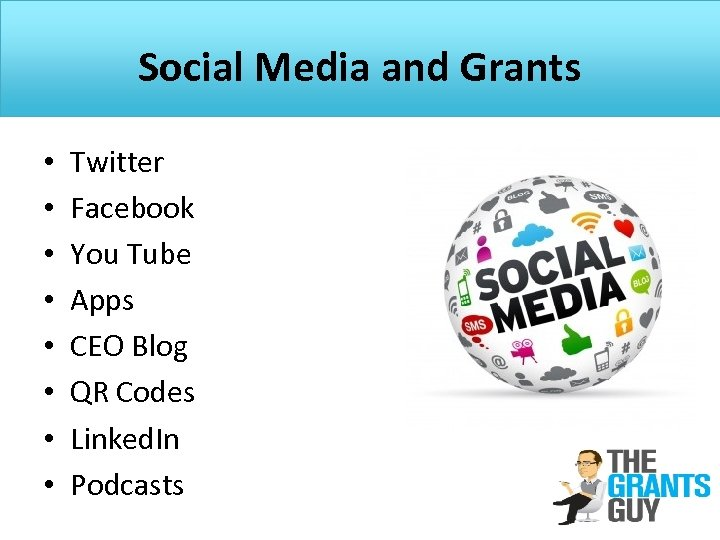 Social Media and Grants • • Twitter Facebook You Tube Apps CEO Blog QR