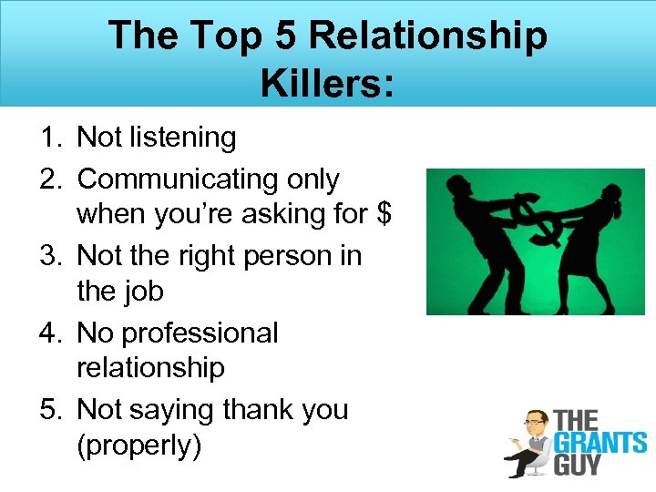 The Top 5 Relationship Killers: 1. Not listening 2. Communicating only when you're asking