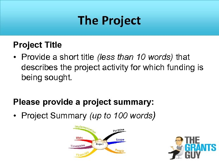 The Project Title • Provide a short title (less than 10 words) that describes