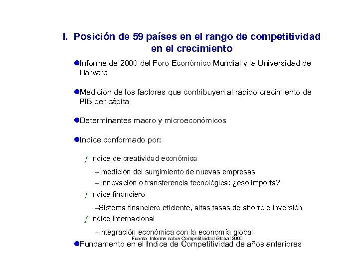 I. Posición de 59 países en el rango de competitividad en el crecimiento l.