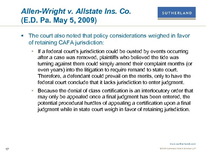 Allen-Wright v. Allstate Ins. Co. (E. D. Pa. May 5, 2009) § The court