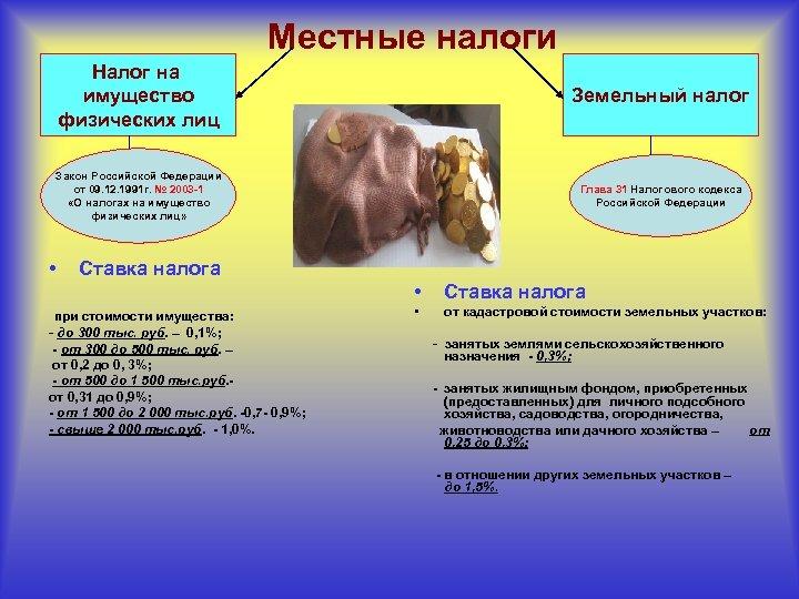 Местные налоги Налог на имущество физических лиц Земельный налог Закон Российской Федерации от 09.