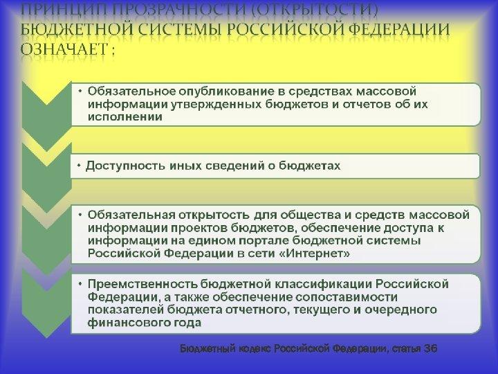 Бюджетный кодекс Российской Федерации, статья 36