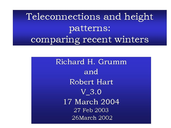 Teleconnections and height patterns: comparing recent winters Richard H. Grumm and Robert Hart V_3.