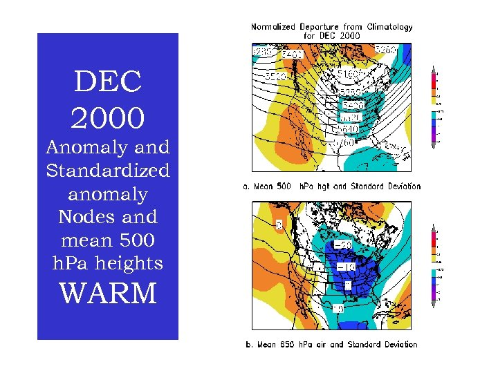 DEC 2000 Anomaly and Standardized anomaly Nodes and mean 500 h. Pa heights WARM