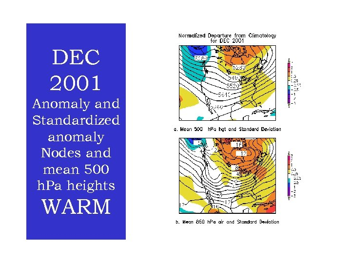 DEC 2001 Anomaly and Standardized anomaly Nodes and mean 500 h. Pa heights WARM