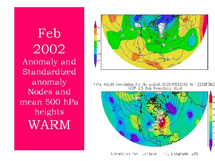 Feb 2002 Anomaly and Standardized anomaly Nodes and mean 500 h. Pa heights WARM