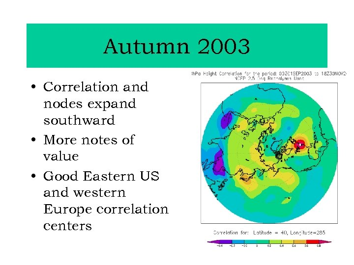 Autumn 2003 • Correlation and nodes expand southward • More notes of value •