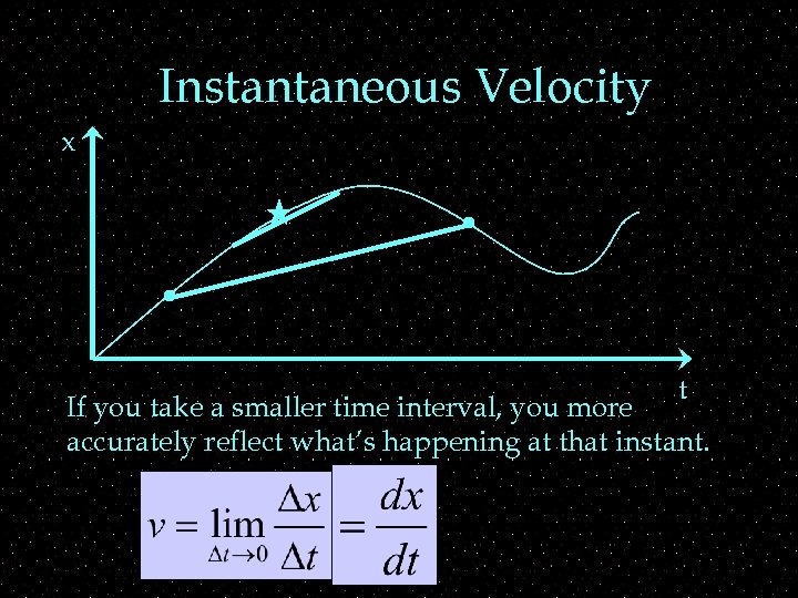 Instantaneous Velocity x t If you take a smaller time interval, you more accurately