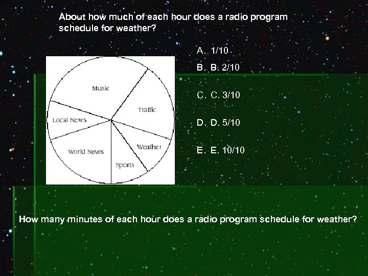 About how much of each hour does a radio program schedule for weather? A.