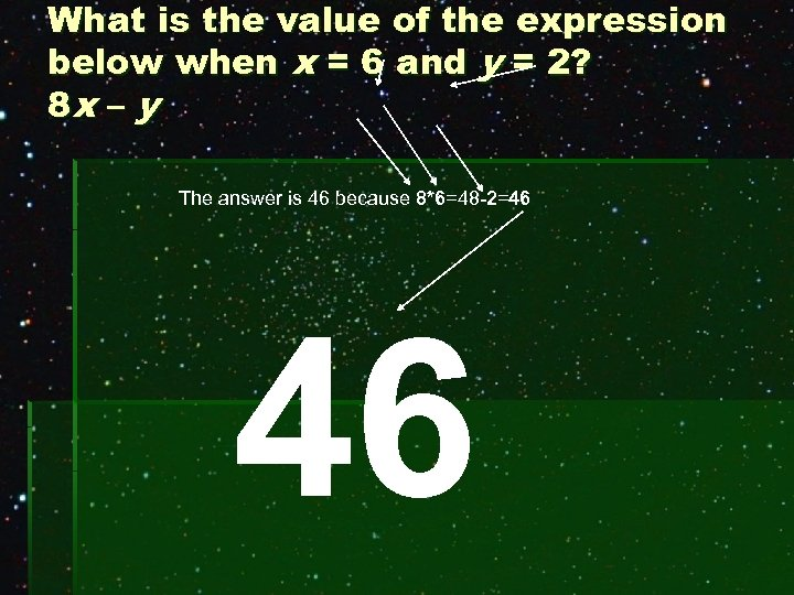 What is the value of the expression below when x = 6 and y