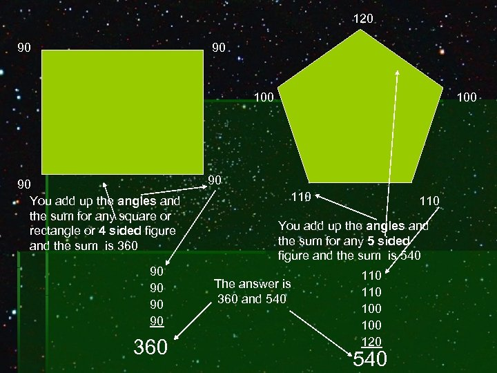 120 90 90 100 90 You add up the angles and the sum for