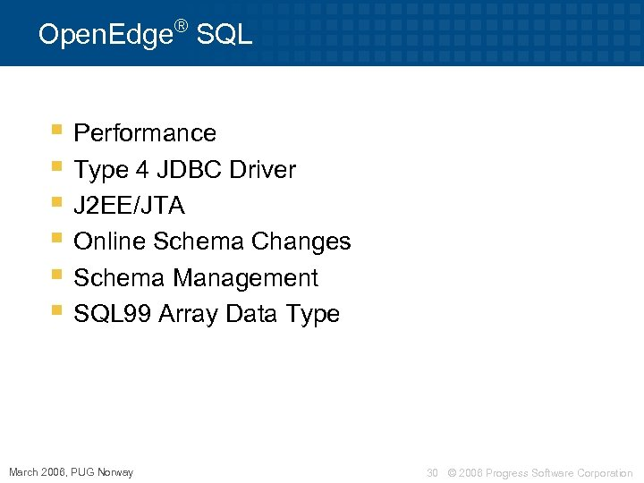 ® Open. Edge SQL § Performance § Type 4 JDBC Driver § J 2
