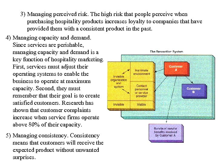 3) Managing perceived risk. The high risk that people perceive when purchasing hospitality products