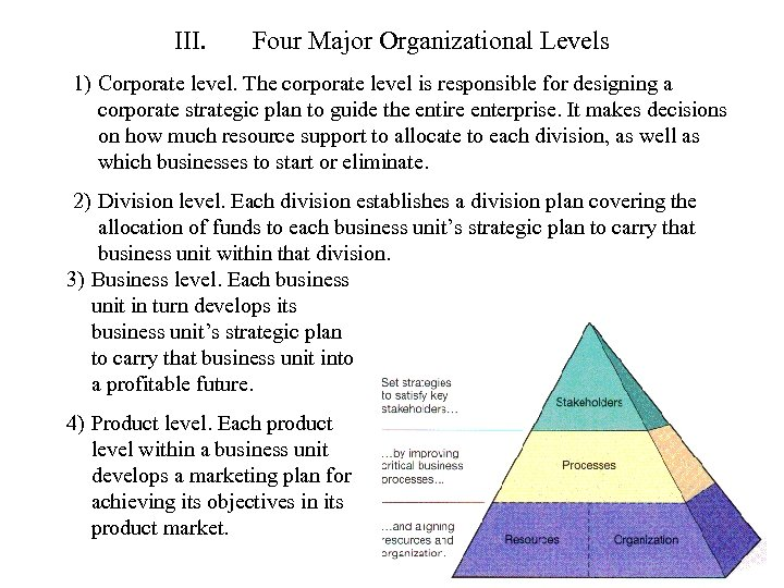 III. Four Major Organizational Levels 1) Corporate level. The corporate level is responsible for