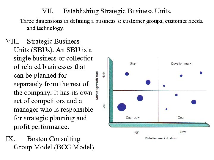 VII. Establishing Strategic Business Units. Three dimensions in defining a business's: customer groups, customer