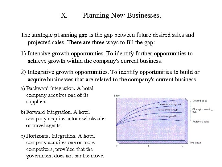 X. Planning New Businesses. The strategic p 1 anning gap is the gap between