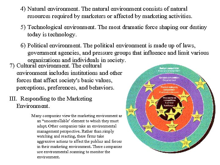 4) Natural environment. The natural environment consists of natural resources required by marketers or