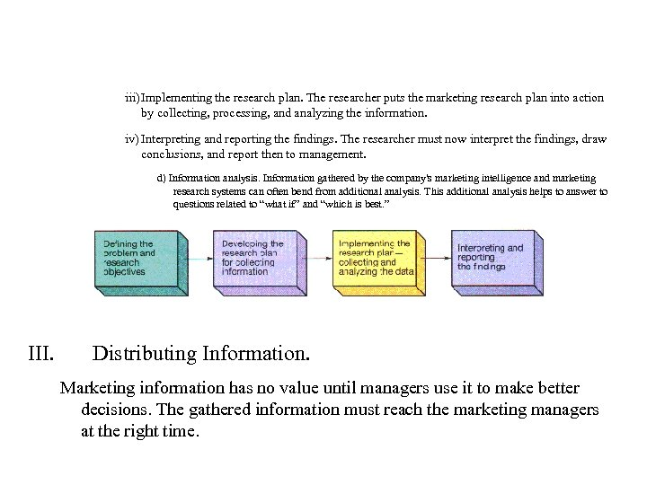 iii) Implementing the research plan. The researcher puts the marketing research plan into action