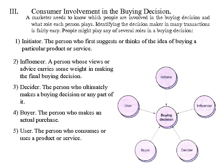 III. Consumer Involvement in the Buying Decision. A marketer needs to know which people