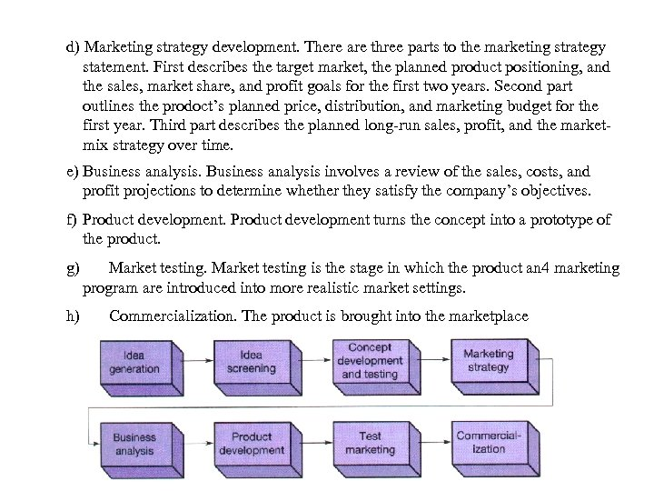d) Marketing strategy development. There are three parts to the marketing strategy statement. First