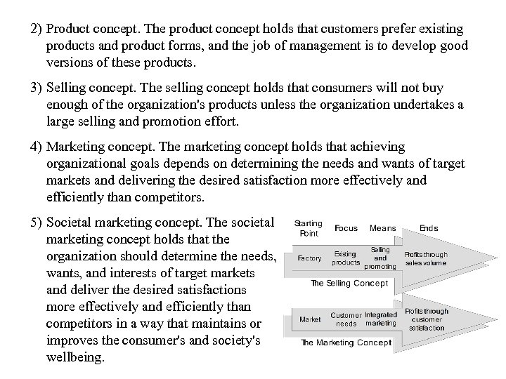 2) Product concept. The product concept holds that customers prefer existing products and product