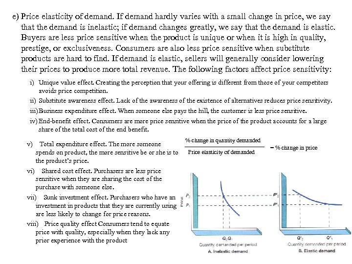 e) Price elasticity of demand. If demand hardly varies with a small change in