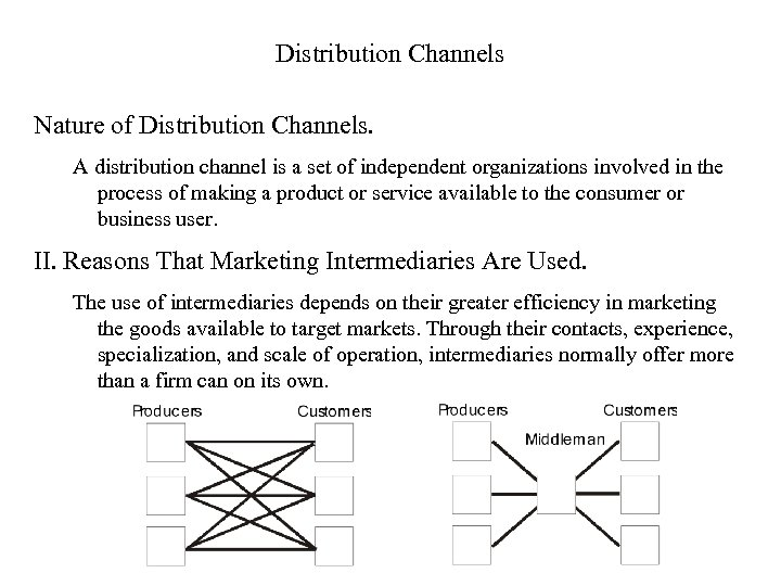 Distribution Channels Nature of Distribution Channels. A distribution channel is a set of independent