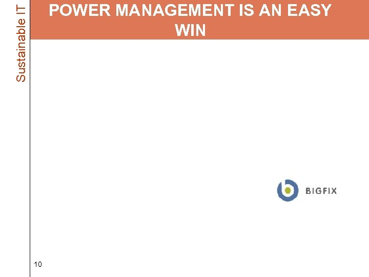 Sustainable IT POWER MANAGEMENT IS AN EASY WIN • Power Management comes with your