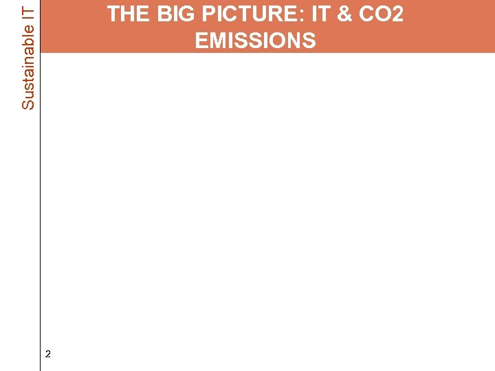 Sustainable IT THE BIG PICTURE: IT & CO 2 EMISSIONS • IT Industry Energy