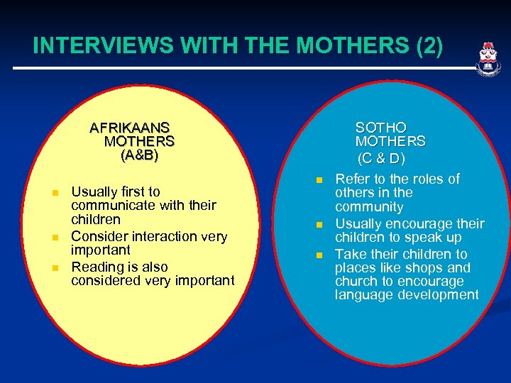 INTERVIEWS WITH THE MOTHERS (2) AFRIKAANS MOTHERS (A&B) n n n Usually first to