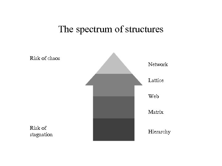 The spectrum of structures Risk of chaos Network Lattice Web Matrix Risk of stagnation