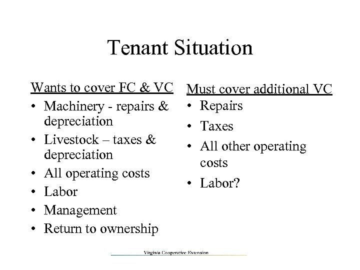 Tenant Situation Wants to cover FC & VC • Machinery - repairs & depreciation