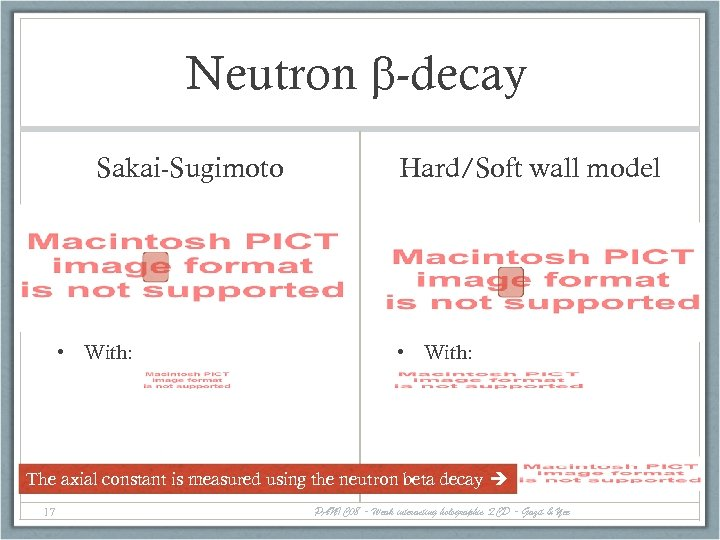 Neutron b-decay Sakai-Sugimoto • With: Hard/Soft wall model • With: The axial constant is