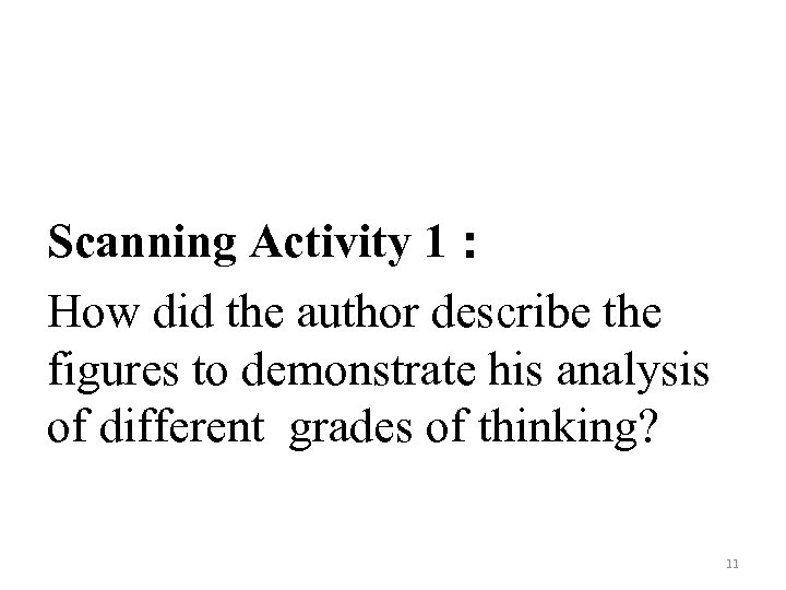 Scanning Activity 1: How did the author describe the figures to demonstrate his analysis