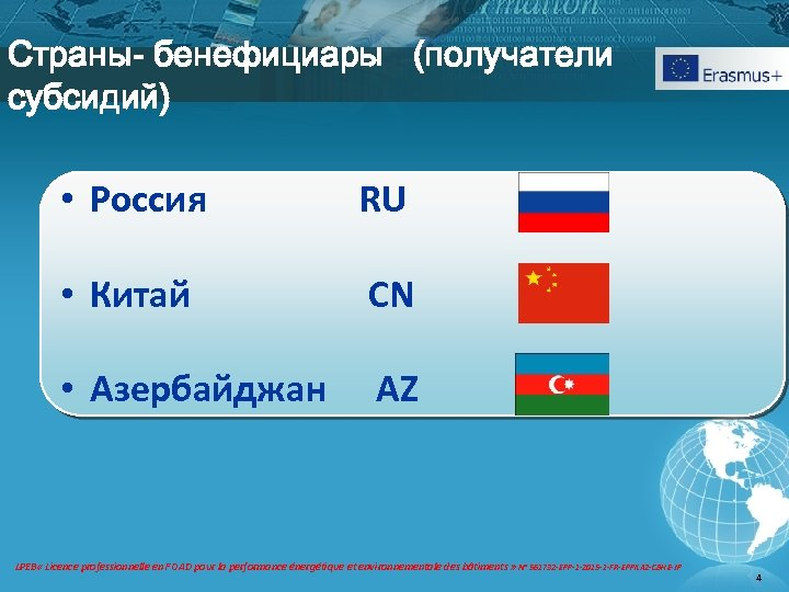 Страны- бенефициары (получатели субсидий) • Россия RU • Китай CN • Азербайджан AZ LPEB