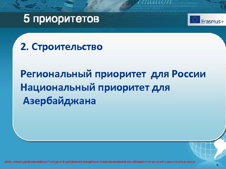 5 приоритетов 2. Строительство Региональный приоритет для России Национальный приоритет для Азербайджана LPEB «